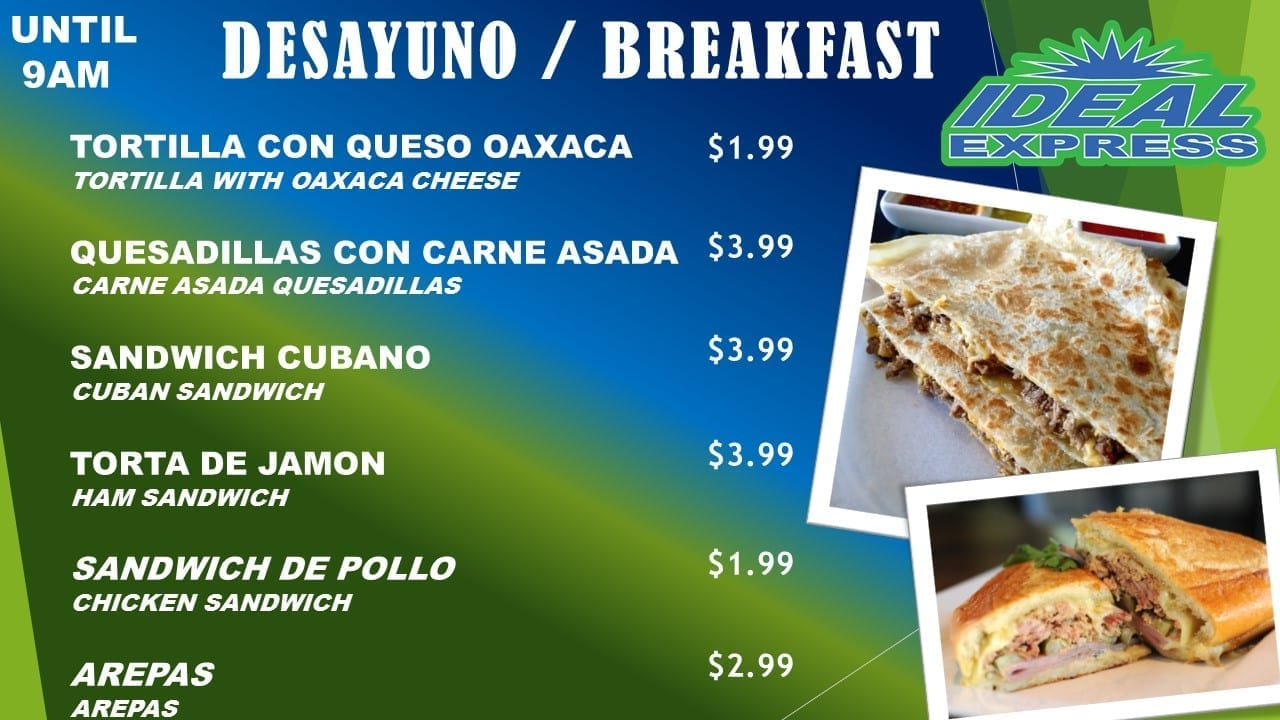 Breakfast Menu 1